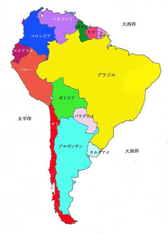 南アメリカの国々 : 南米 白地図 : 白地図